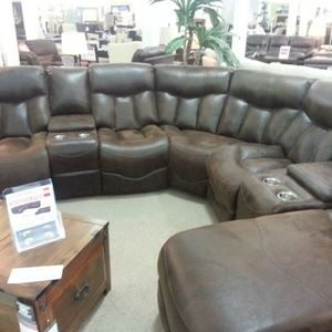 4pcs Brown leather sectional